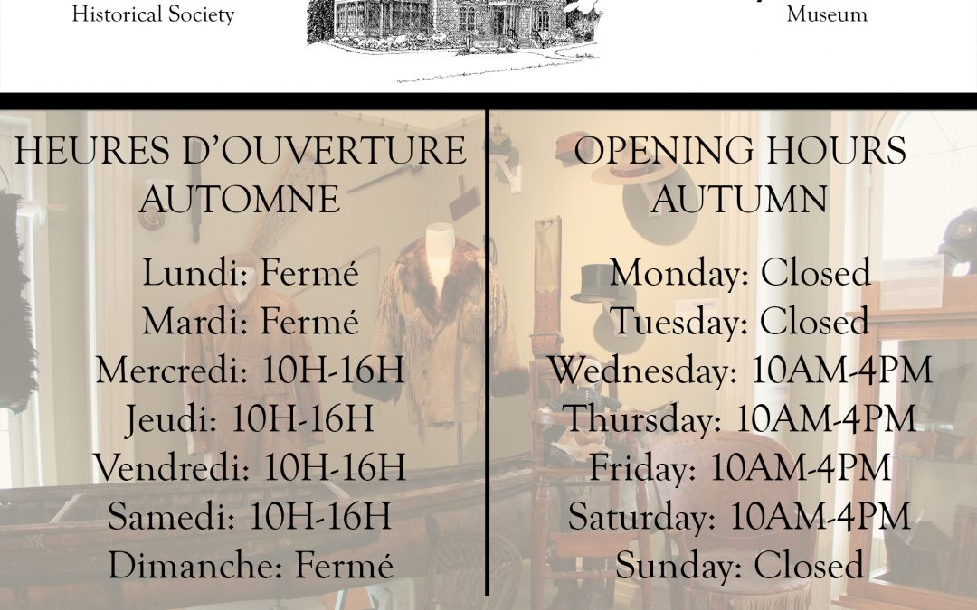 Heures d'ouverture d'automne 2020 / Fall 2020 Opening Hours